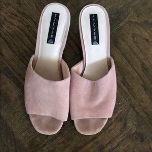 Steven by Steve Madden pink suede mules size 10